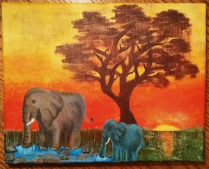 Blue Elephant Painting